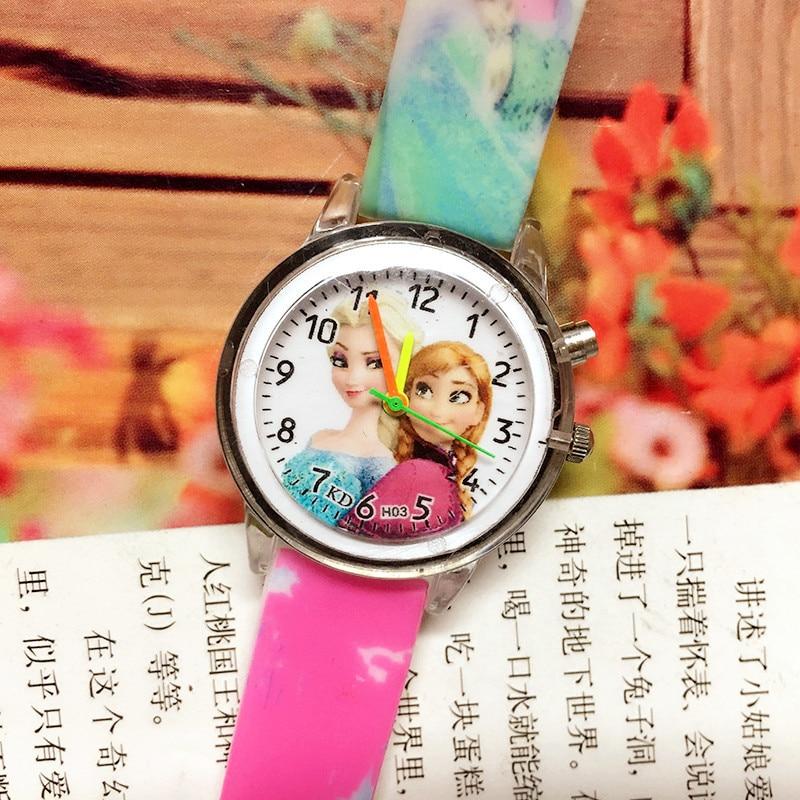 Дети часы для девочек новинка Relojes дети мода милый резина красочный свет источник принцесса часы +студент часы подарки