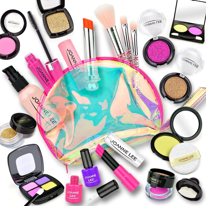 Girl Pretend Play Make Up Toy Simulation Cosmetics Pink Makeup Set Princess Beauty Plastic Play House Toy Lipstick Eyeshadow