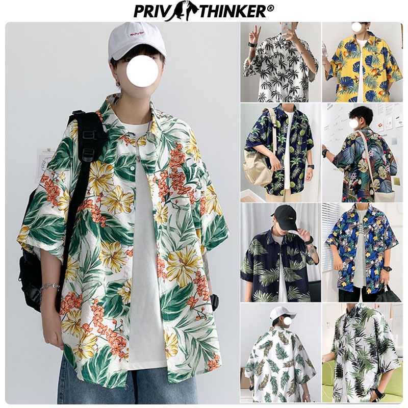 Privathinker Casual Summer New Half Sleeve Shirts 2020 Korean Fashion Shirts Male Flower Print Shirt Harajuku Male Tops