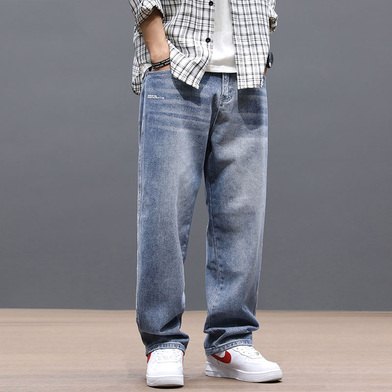 Fashion Streetwear Men Jeans Loose Fit Retro Blue Vintage Jeans Straight Denim Pants Homme Korean Hip Hop Wide Leg Long Trousers