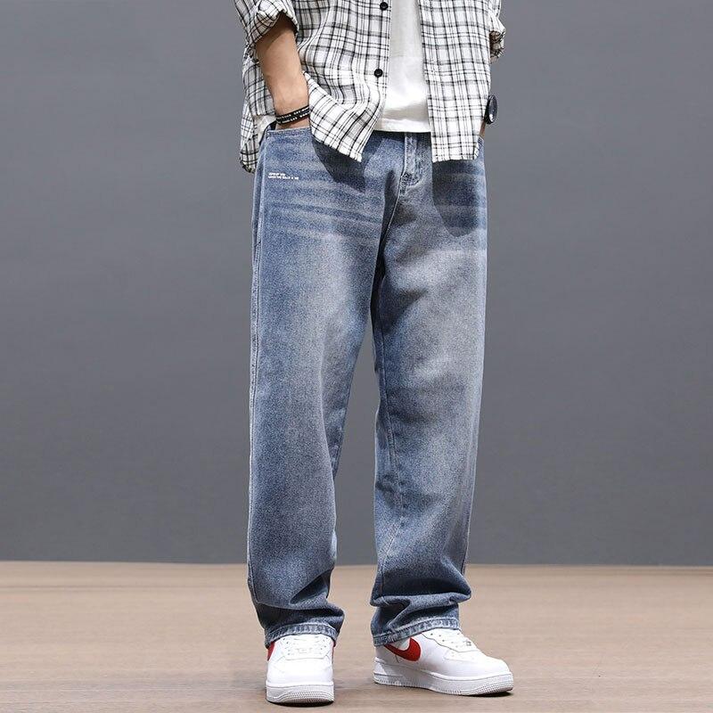 Fashion Streetwear Men Jeans Loose Fit Retro Blue Vintage Jeans Straight Denim Pants Homme Korean Hip Hop Wide Leg Long Trousers