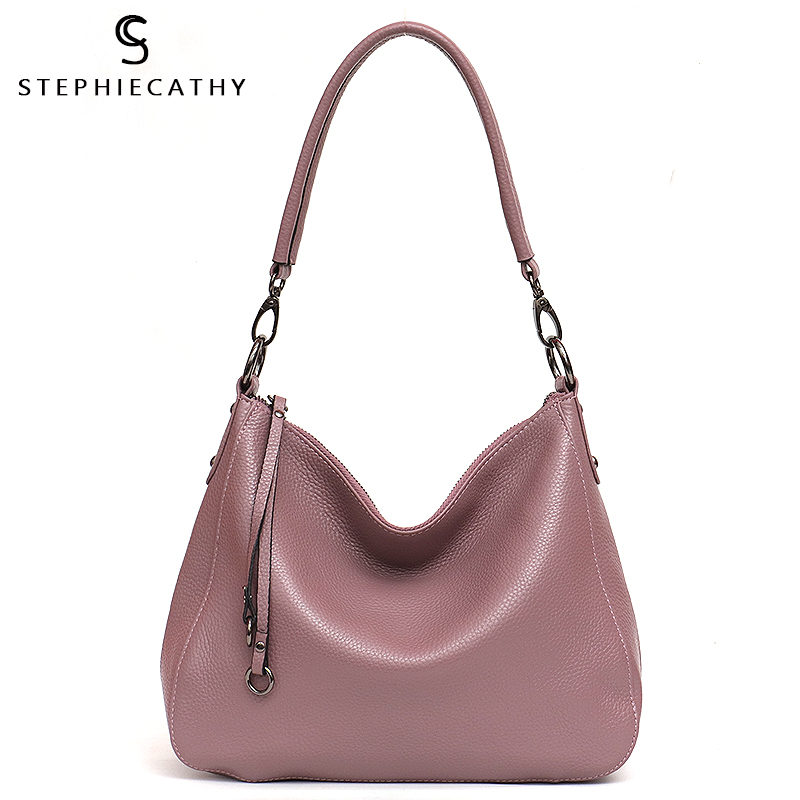 SC Luxury Leather Handbag For Women High Quality Real Leather Hobo Metal Rings Bucket Ladies Fashion Tote Female Crossbody Bags