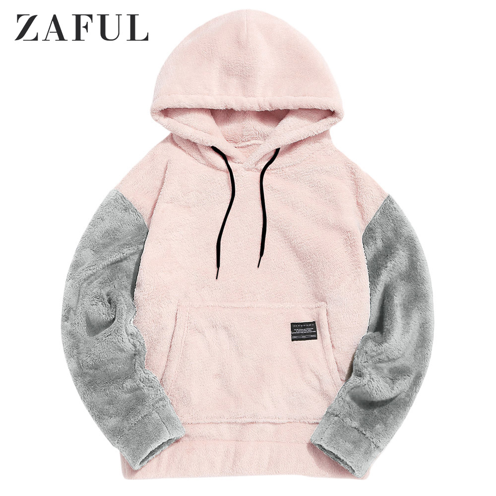 Купить zaful/осенняя цветная толстовка с капюшоном и карманами кенгуру
