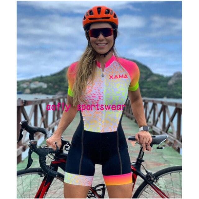 Xama mulher profissão triathlon terno roupas ciclismo skinsuits oupa de ciclismo macacão das mulheres kits triatlon verão conjunto feminino ciclismo macacao ciclismo feminino kafitt roupas com frete gratis 2