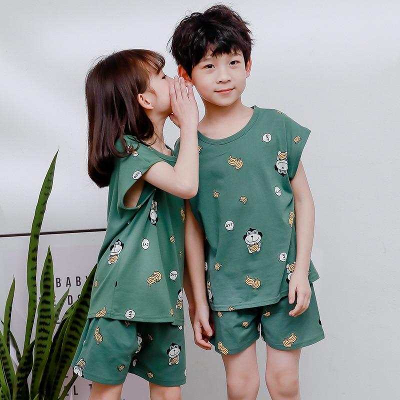 Cartoon Kids Pajamas Sets Cotton Boys Sleepwear Suit Summer Girls Pajamas Short-Sleeved Tops+Pants 2pcs Children Sleep Clothes
