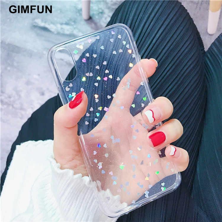 Gimfun Bintang Bling Glitter untuk iPhone 11 Pro Max Bening Kembali Cinta Hati TPU Case PENUTUP UNTUK iPhone xr X 7 6 Plus 5 S SE