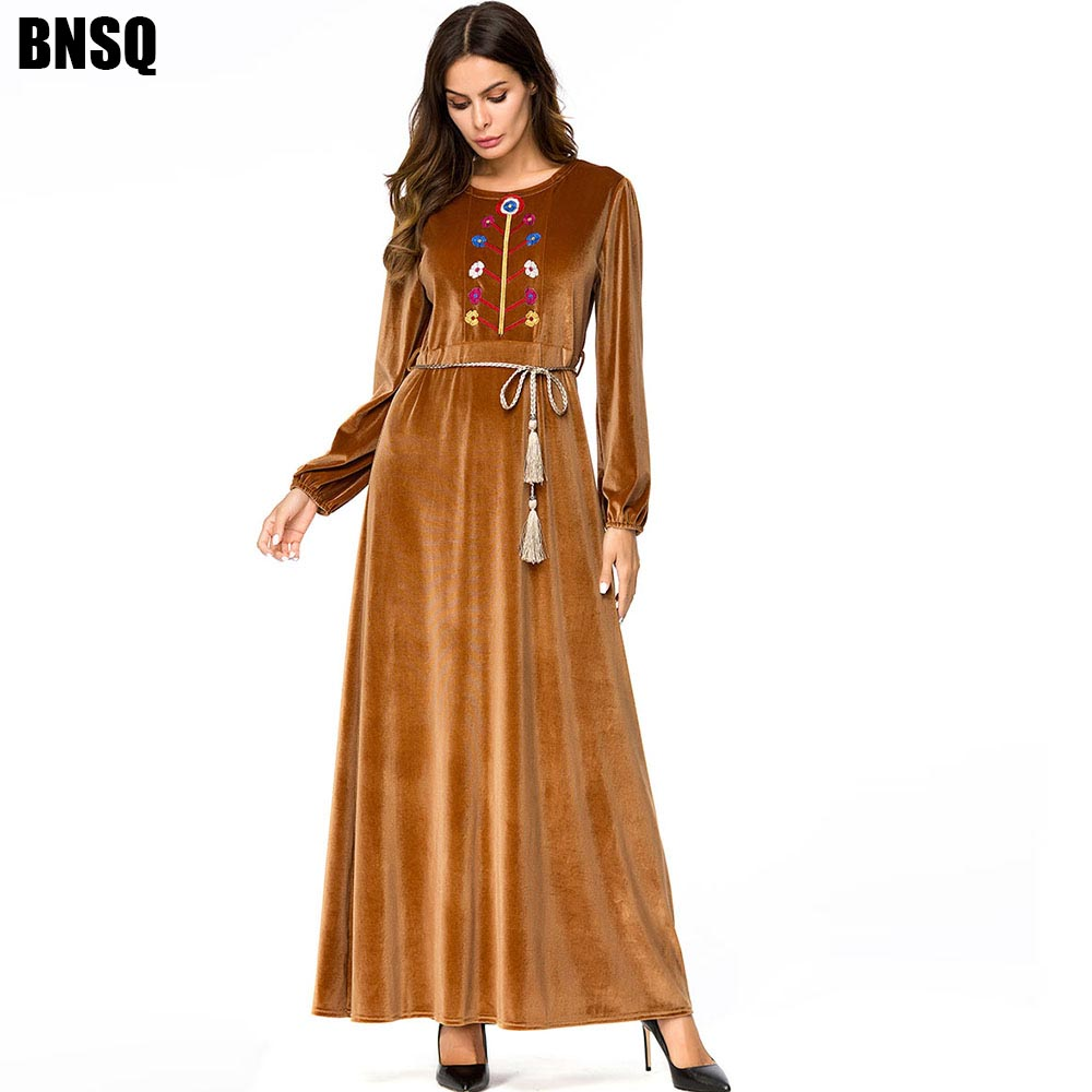 BNSQ Winter Velvet Tree Embroidered Mopping Dress Missing Code Cheap Caftan Abayas Kaftan Arabic Vestidos Maxi Pakistani Dresses