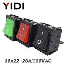 KCD4-201 30x22 30A 250VAC ağır KCD4 Rocker anahtarı 20A 250VAC DPST ON OFF kilitleme 12V 220V kırmızı yeşil mavi LED aydınlatmalı