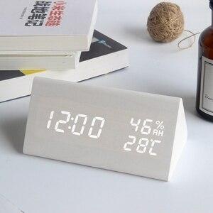 Image 3 - ไม้LEDนาฬิกาปลุกควบคุมเสียงดิจิตอลอุณหภูมิความชื้นไม้Despertadorนาฬิกาตั้งโต๊ะUSB/AAA