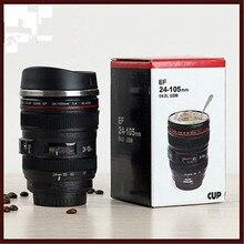 24-105 мм Объектив Термос камера путешествия кофе чайная чашка, кружка объектив оригинальная бутылка Нержавеющая сталь Матовый лайнер черный