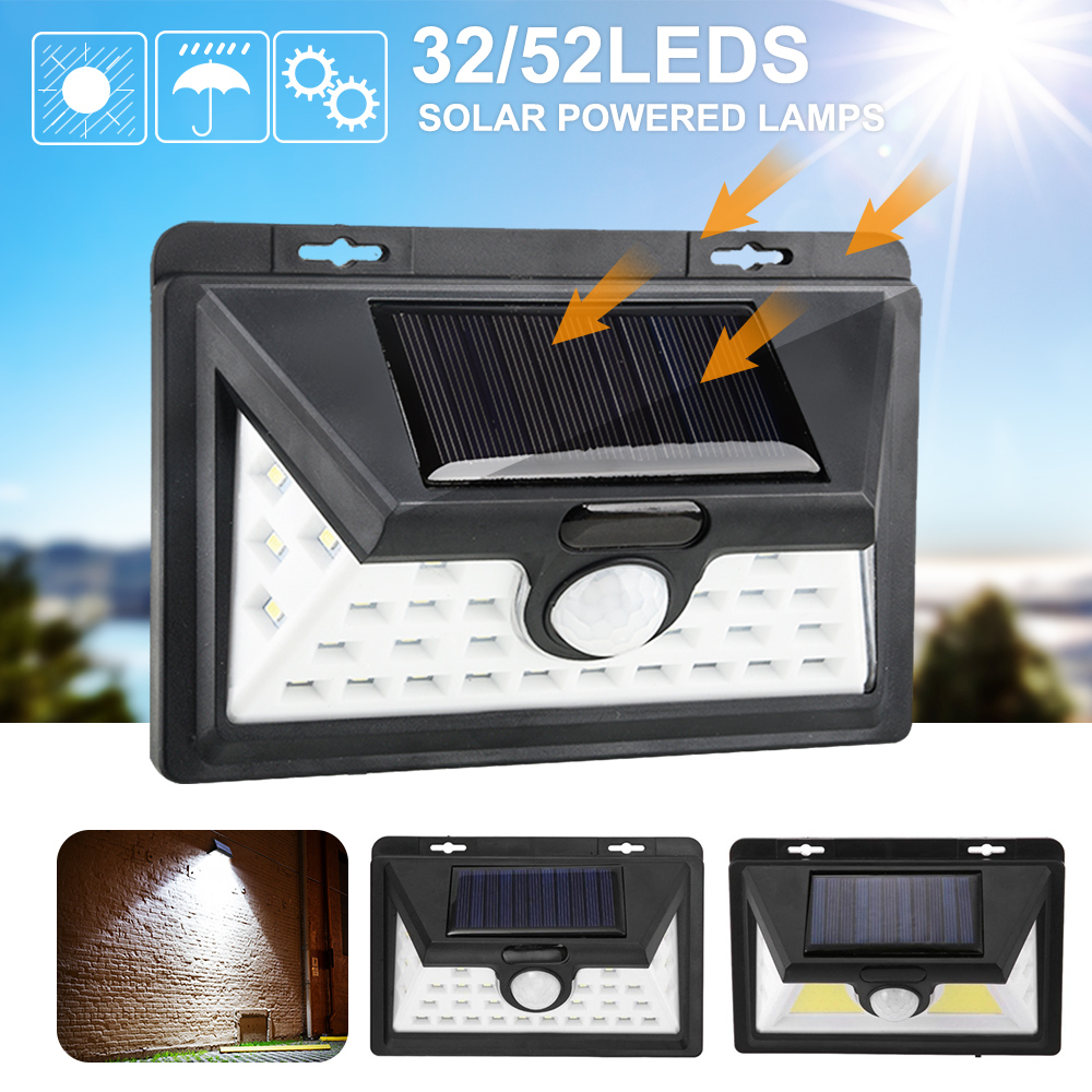 Junejour 1/2PCS Solar Lights 32/52 Wall Solar Light Outdoor Security Lighting Nightlight IP65 Motion Sensor Detector