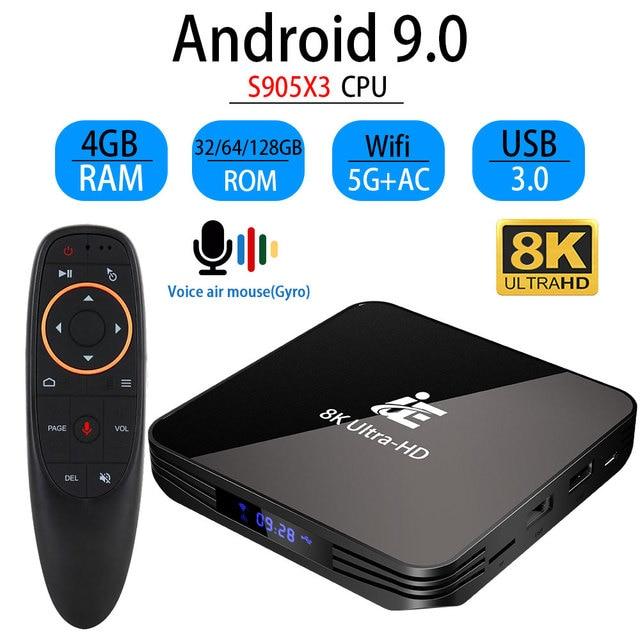Transpeed android 9.0 8k 4k caixa de tv 4gb 64 youtube bluetooth 4.1 1000m 2.4g e 5g wifi amlogic s905x3 conjunto caixa de tv superior