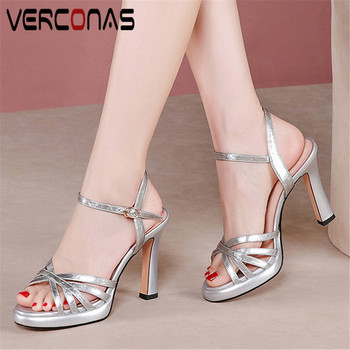 VERCONAS 2020 Fashion Woman Sandals Woman Pumps Brand Design Genuine Leather Night Pumps Pointed Toe Thin High Heels Shoes Woman