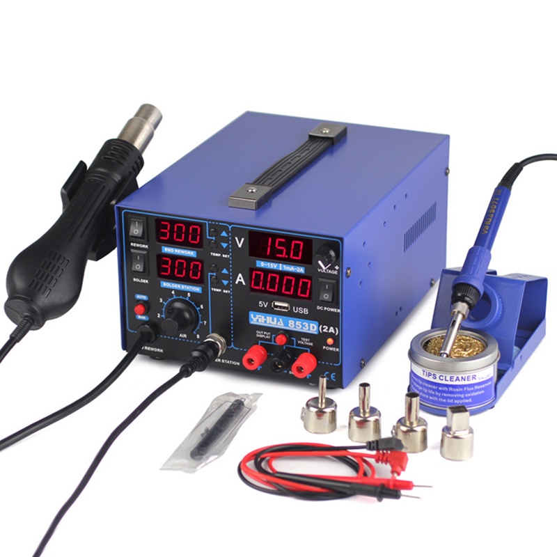 Tools : YIHUA 853D Rework Soldering Station 4 in 1 Hot Air Gun Soldering Iron USB Output 15V 2A DC Power Supply New BGA Welding Stations