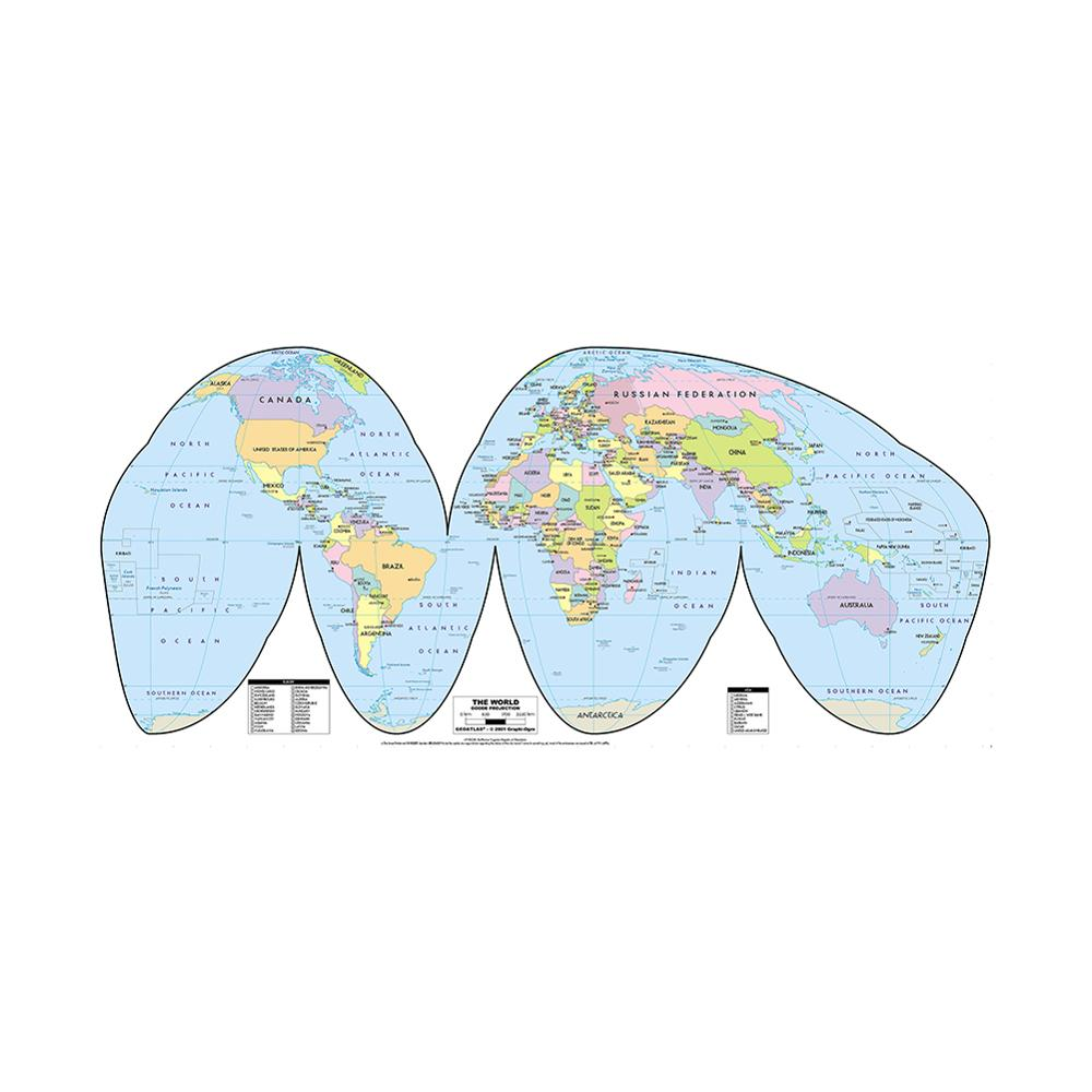 150x225cm The World Map Goode Projection Country Map With Capital Non-woven Vinyl Spray Map