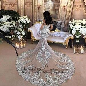 Image 2 - דובאי ערבית יוקרה נוצץ 2020 חתונה שמלות בלינג חרוזים Applique גבוה צוואר אשליה ארוכה שרוולי בת ים הכלה שמלת שמלות