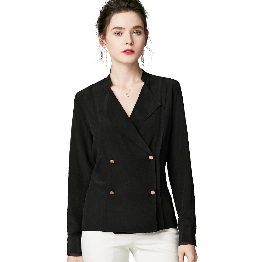 100 Silk Blouses Office Ladies Long Sleeve Shirt Double breasted White Suit Tops Loose Women Clothes Luxury Autumn blusa za Top in Blouses amp Shirts from Women 39 s Clothing