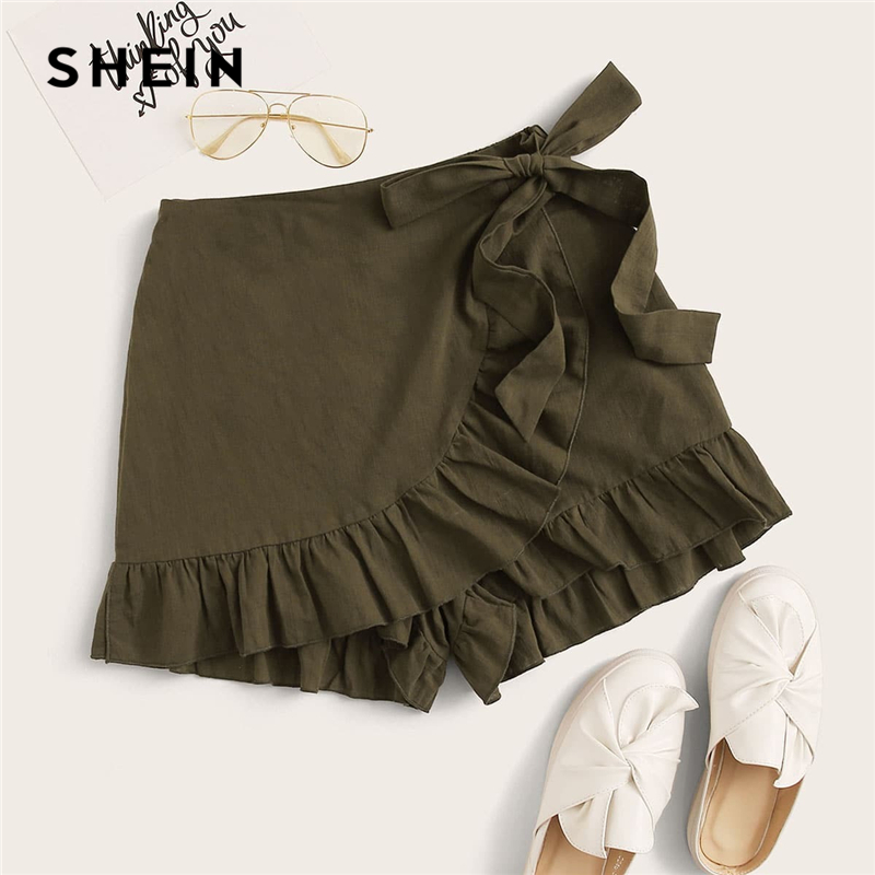 SHEIN Army Green Tie Side Ruffle Trim Wrap Skort Elastic Waist Belted Women 2020 Summer Beach Vacation Casual Boho Skorts