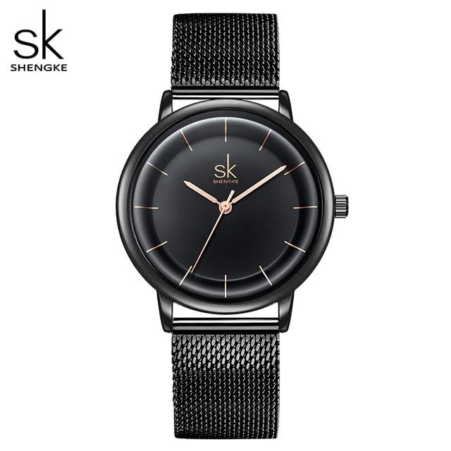 SK кожаные часы для женщин Простые Модные кварцевые часы для Reloj Mujer женские наручные часы SHENGKE Relogio Feminino