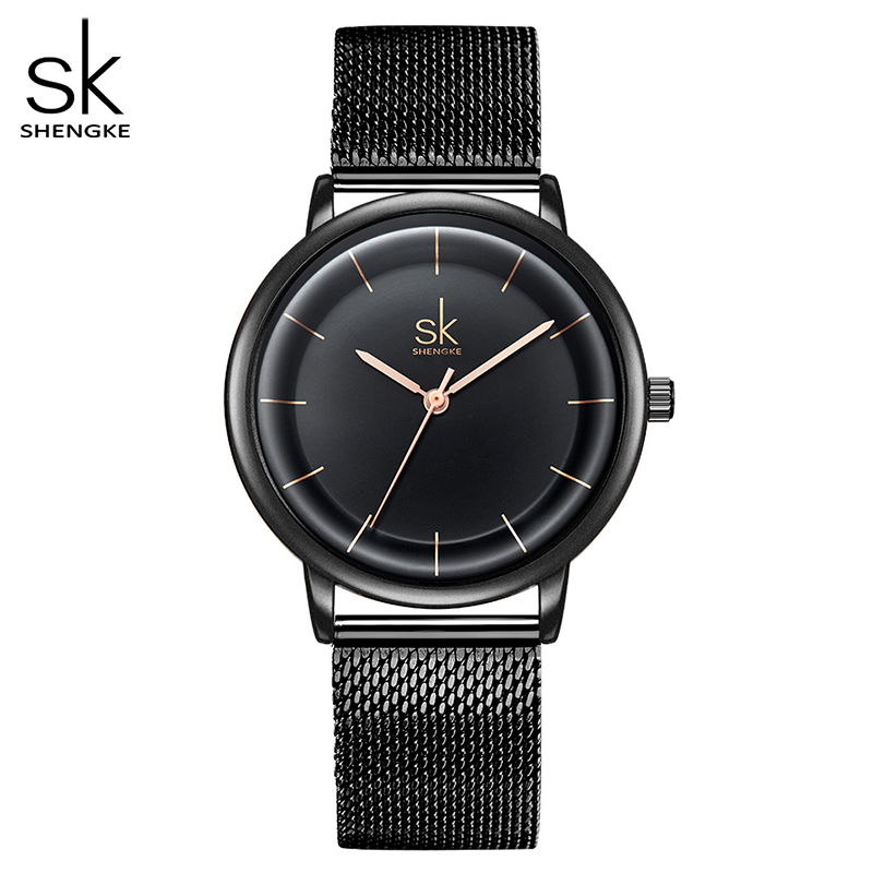 SK Leather Watches Women Simple Fashion Quartz Watches For Reloj Mujer Ladies Wrist Watch SHENGKE Relogio Feminino