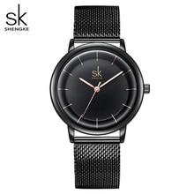 SK עור שעונים נשים פשוט אופנה קוורץ שעונים Reloj Mujer גבירותיי שעון יד SHENGKE Relogio Feminino