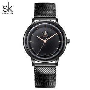 Image 1 - Sk relógios de couro moda simples relógios de quartzo para reloj mujer senhoras relógio de pulso shengke relogio feminino