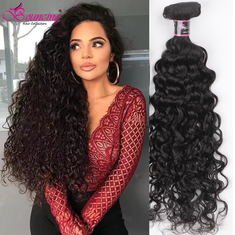 Bouncing Brazilian Hair Water Wave Human Hair Bundles Hair Weft Natural Black Remy Hair Weave