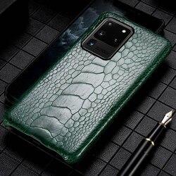 Asli Burung Unta Kaki Kulit Phone Case untuk Samsung Galaxy S20 Ultra A50 A51 A70 A80 S7 S8 S9 S10 S20 plus Catatan 10 Plus 9 Cover