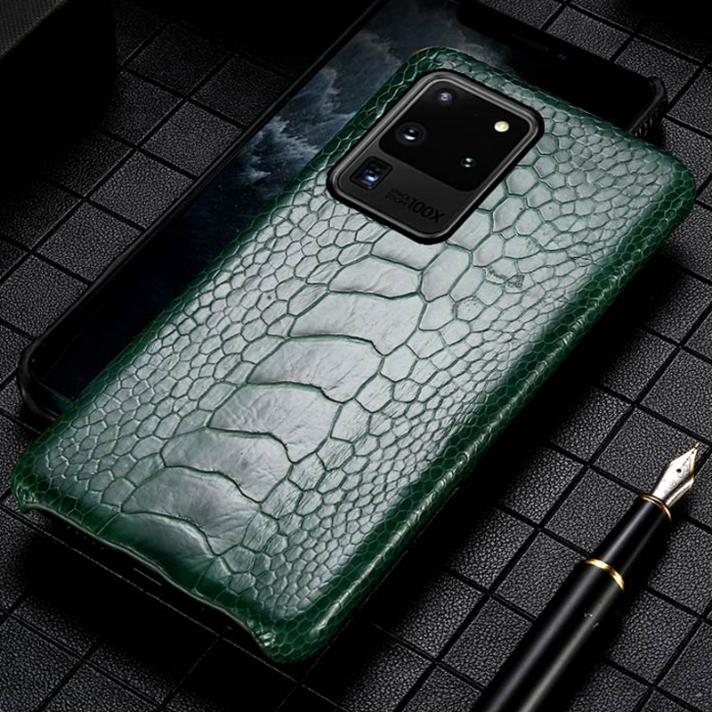 Genuine Ostrich Foot Leather Phone Case for Samsung galaxy S20 Ultra A50 A51 A70 A71 S7 S8 S9 S10 S20 Plus Note 10 Plus 9 Cover image