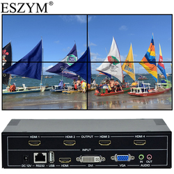 ESZYM 4-канальный ТВ видео настенный контроллер 2x2 1x3 1x2 HDMI DVI VGA USB видеопроцессор