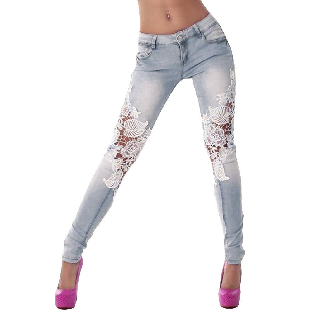 Women's Skinny Ripped Sexy Lace Panel Jeans New Fashion Women Pocket Zipper Pants Hips Denim Biker Jeans Female Pencil Pants#B