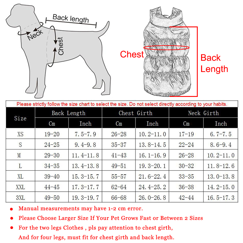Autumn Winter Clothes For Dogs Thicken Warm Puppy Pet Cat Coats Waterproof Dog Jacket Chihuahua Pug