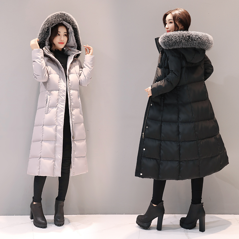 Jacket Down Women's Winter Coats Ladies New Fox Fur Collar Puffer Jacket Parka Long Coat Women Camperas Mujer KJ468