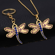 SG Hot Movie Coraline Necklace Delicate Crystal Dragonfly Butterfly Choker Black Button Key Skull Pendant Kids Girl Jewelry Gift
