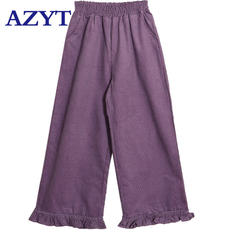 AZYT Purple Corduroy Wide Leg Pants Preppy School Girl Cute Kawaii Ruffles Capris Japanese Fall Winter Women Lolita Style Pants
