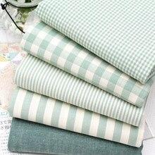 50*150cm tessuto di cotone verde a righe Check Country lenzuolo tessuto tovaglia cuscino di tiro divano letto tessuto per tende