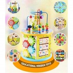 Montessori aprendizagem da primeira infância brinquedo educativo multi-função de seis lados grande caixa de tesouro de contas redondas enigma brinquedo de matemática
