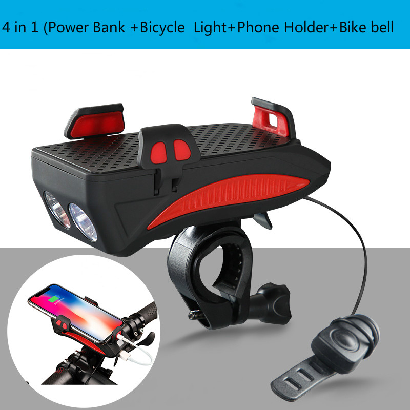 4 In 1 Bike Front Light Phone Holder Handlebar Stand With Bike Bell Function Power Bank Bicycle Lamp Flashlight For MTB Bike