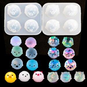 Diy кристальная эпоксидная смола, форма, четыре небольших форма в виде животных, поросенка, курица, украшения, кукла, силиконовая форма для смолы