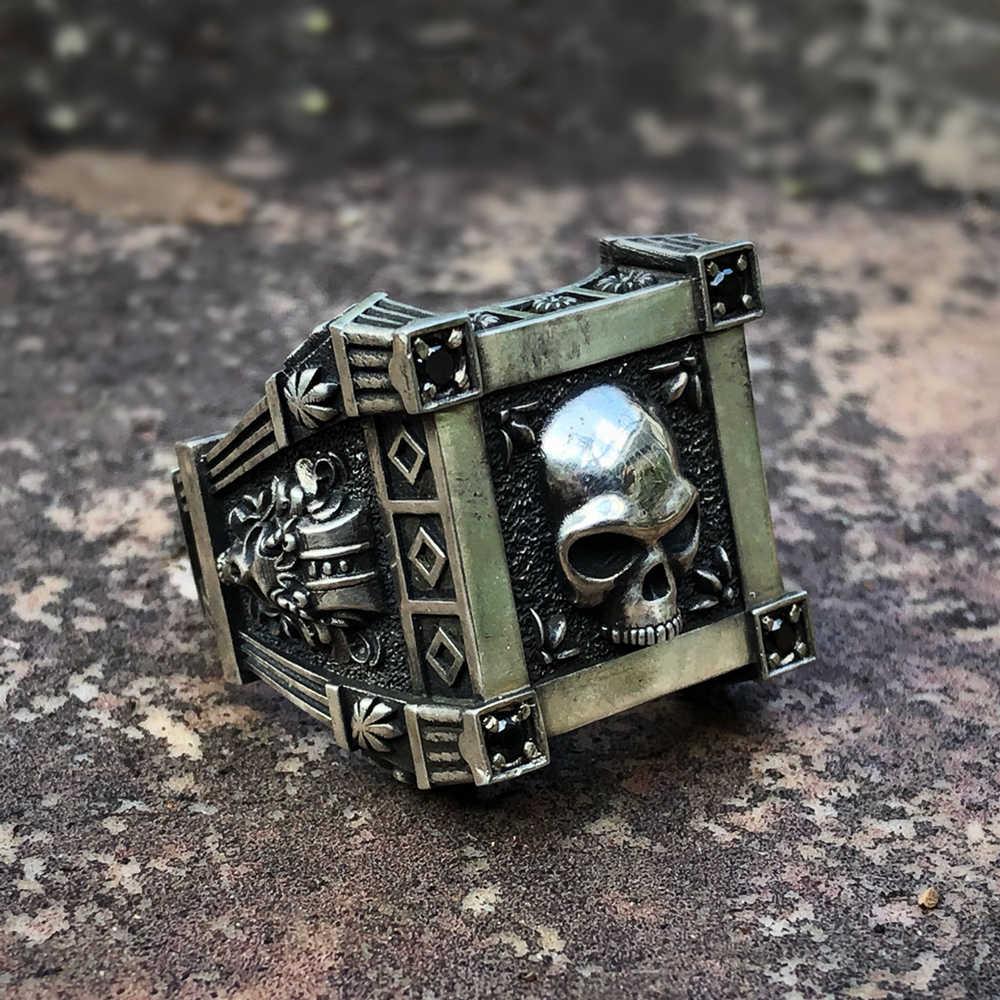 Eyhimd Gothic Tengkorak Bunga Hitam Zircon Crystal Stainless Steel Cincin Pria dan Wanita Punk Biker Perhiasan
