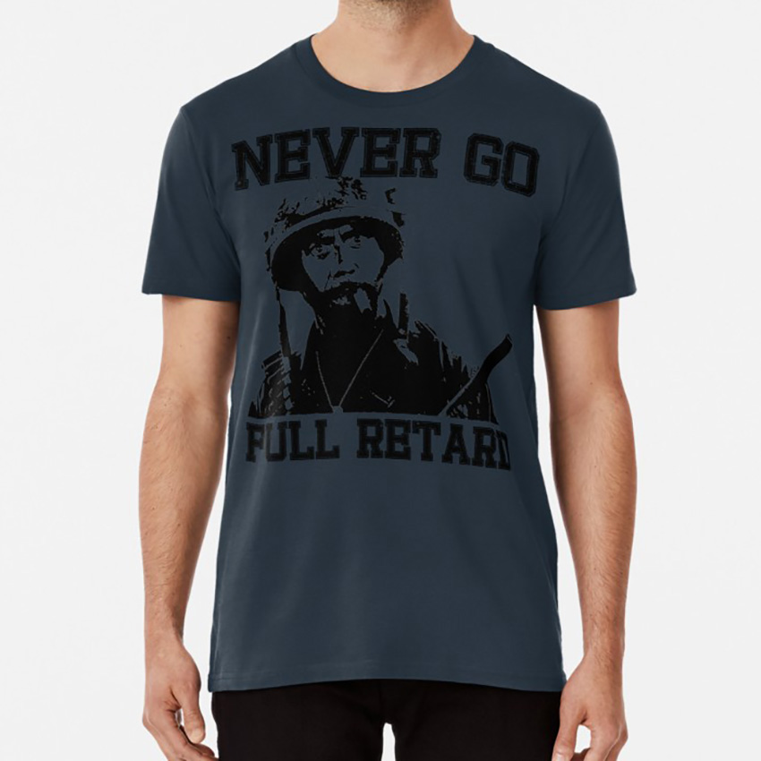 Never Go Full! T shirt tropic thunder les grossman kirk lazarus alpha chino tugg speedman comedy parody movie movies war image