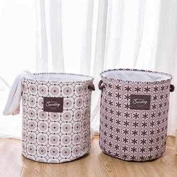 Foldable Laundry Basket Hamper Storage Bag Thicken Large Capacity Laundry Clothes Toy Picnic Printed Storage Organizer Bucket