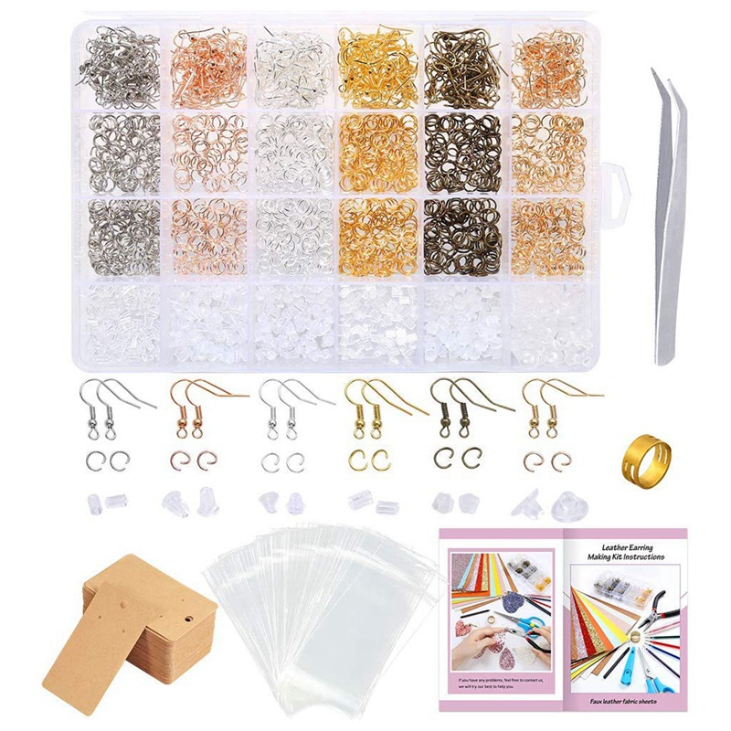 2200 Pieces Earring Making Supplies Kit With Earring Hooks, Jump Rings, Earring Display Cards, Self-Sealing Clear Bags, For Earr