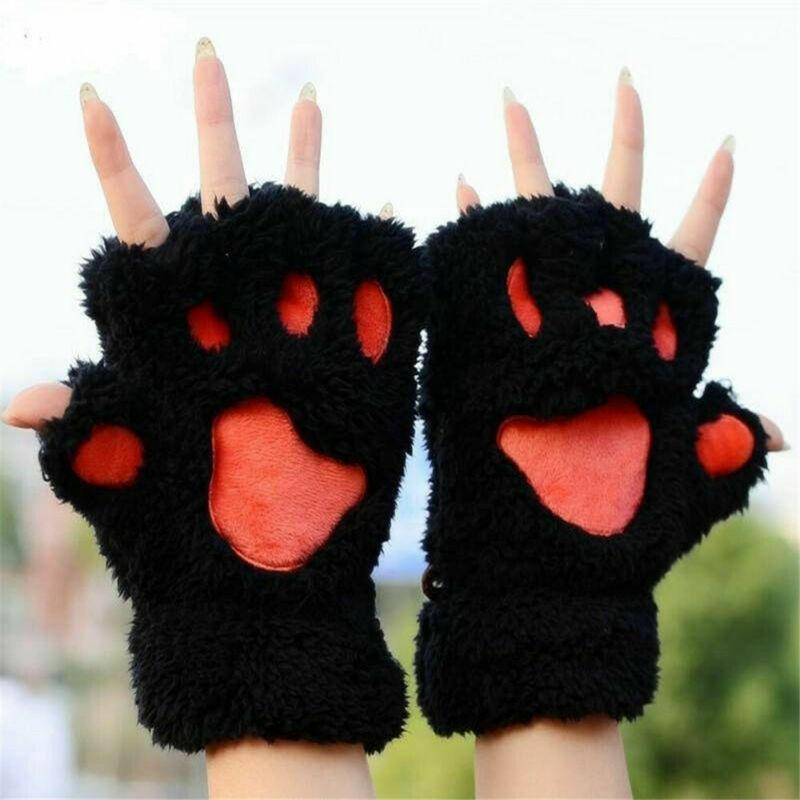 Half Finger Mitten Winter Women Cartoon Cute Cat Claw Paw Plush Mittens Costume Short Gloves