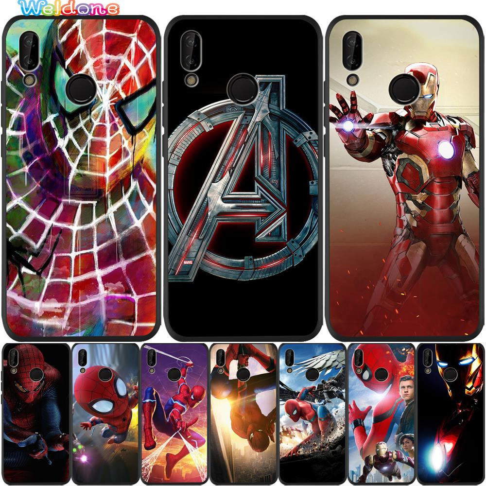 <font><b>Marvel</b></font> Avengers Spiderman Iron Man Black Phone Case For <font><b>Huawei</b></font> P30 P20 <font><b>Lite</b></font> Pro <font><b>P10</b></font> P9 <font><b>Lite</b></font> Mate 20 30 10 <font><b>Lite</b></font> case <font><b>Cover</b></font> Etui image