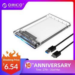 ORICO 2139U3 корпус жесткого диска 2,5 дюймов прозрачный USB3.0 корпус жесткого диска поддержка протокола UASP для 7-9,5 мм HDD