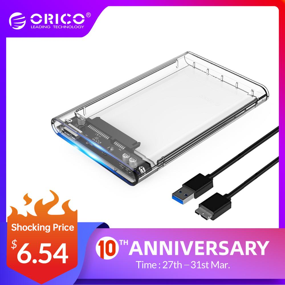 ORICO 2139U3 Hard Drive Enclosure 2.5 Inch Transparent USB3.0 Hard Drive Enclosure Support UASP Protocol For 7-9.5 Mm HDD