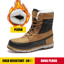 Men Boots Sneakers Snow for Thick Plush Winter Shoes Waterproof Work Warm Plus Size 39-46