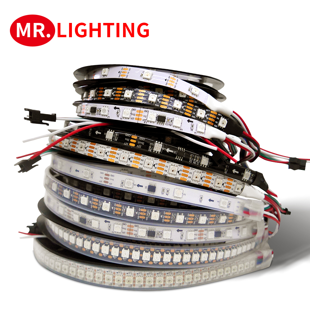 WS2815 WS2812B WS2811 LED Light Strip 5050 Lamp Beads Neon Sign Smart Pixels Addressable Dual Signal RGB Full Color LED Strip