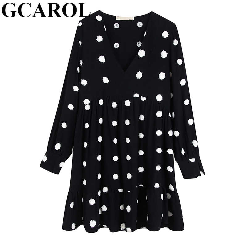 GCAROL Women V Neck Embroidery Polka Dot Dress Long Sleeve Vintage Elegant Fall Autumn Winter Ladies Ruffles Bottom Dresses